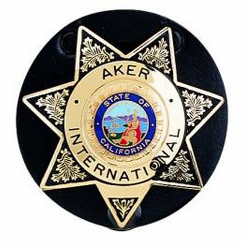 Aker Leather Clip-On Star Badge Holder A592-BP Black Plain Brass