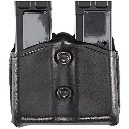 Aker Leather 616 Dual Magazine Carrier A616-BP-3 Black Plain 9/.40