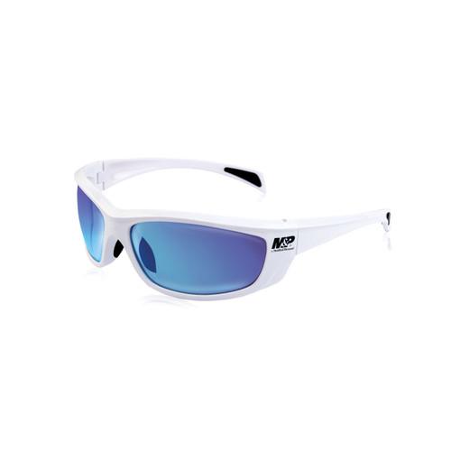 S&W M&P Whitehawk Shooting Glasses White Frames Blue Mirror Lens 110173