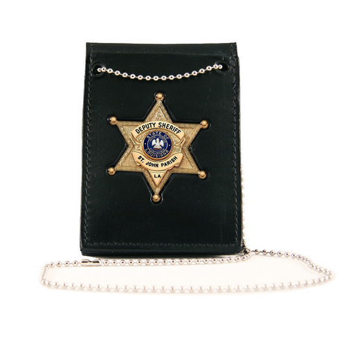 Boston Leather Value Badge Holder W/ Neck Chain 4050-1