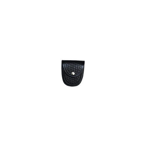 Boston Leather XL Rounded Cuff Case Slot Back 5514-3-GLD Black Basket Weave Brass