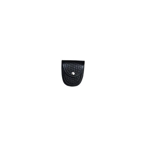 Boston Leather XL Rounded Cuff Case Slot Back 5514-3 Black Basket Weave Nickel