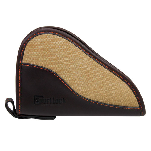 SportLock Leather and Canvas Handgun Case 8in. Brown Leather Tan Canvas 06483