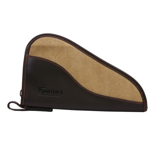 SportLock Leather and Canvas Handgun Case 10in. Brown Leather Tan Canvas 06485