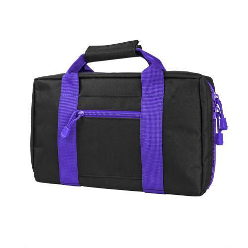 NcStar Discreet Pistol Case 2 Padded Compartments Black Purple Trim CPBPR2903
