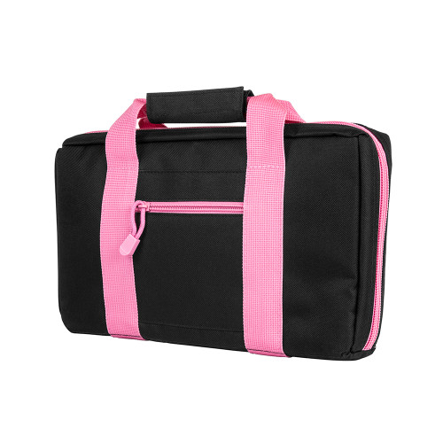 NcStar Discreet Pistol Case 2 Padded Compartments Black Pink Trim CPBPK2903