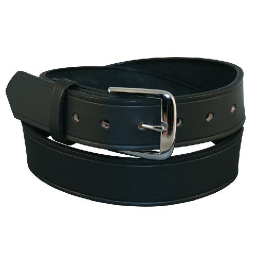 Boston Leather Traditional 1 1/2in Off Duty Belt 6582-1-34 Black Plain Nickel 34