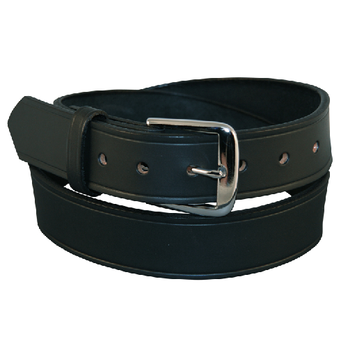 Boston Leather 1 1/2in Lined Off Duty Belt 6582L-1-42 Black Plain Nickel 42