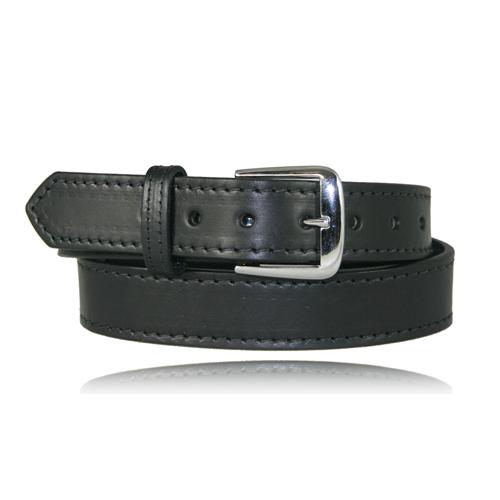 Boston Leather 1 1/2in. Stitched Off Duty Belt 6582ST-1-36 Black Plain Nickel 36