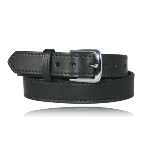 Boston Leather 1 1/2in. Stitched Off Duty Belt 6582ST-1-40 Black Plain Nickel 40