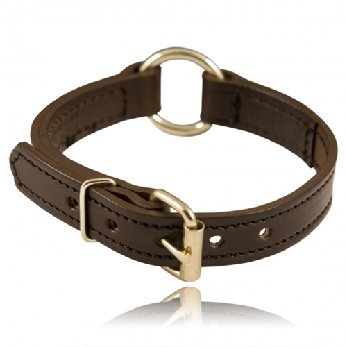 Boston Leather 1 Split Ring K-9 Collar 8350-BLK-1-20 Black 20