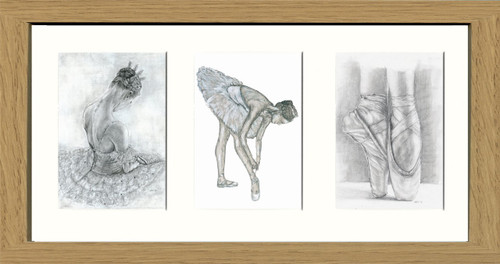 Oak Effect Framed Triptych (Three 4x6 inch prints)