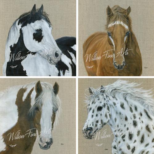 Pattered Horse Quartet Canvas Prints