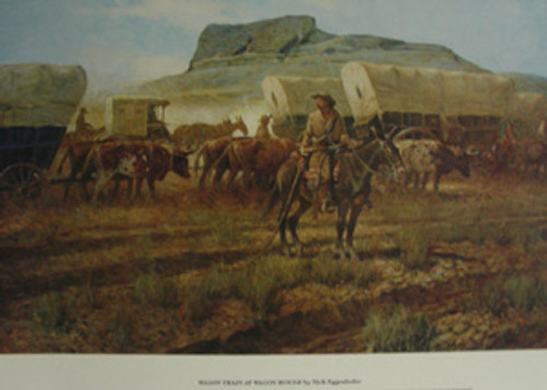 "Poster: ""Wagon Train at Wagon Mound"""