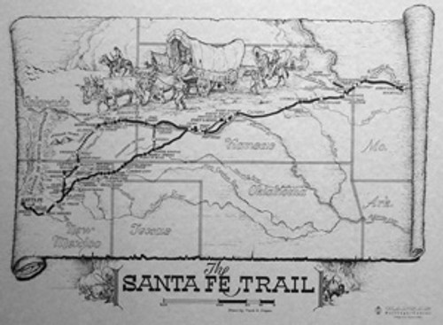Illustrated Map of the Santa Fe Trail by Frank Cooper
