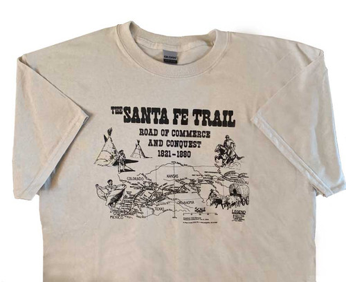 Sport your love of history with this attractive t-shirt is made of buff colored quality-weight 100% cotton and features the map of the Santa Fe Trail with artistic themes.