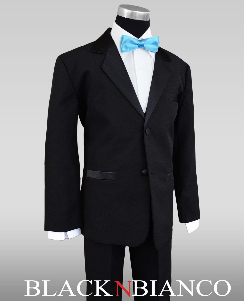 c851b547808 Boys Black Tuxedo with Baby Blue Batwing Bow Tie