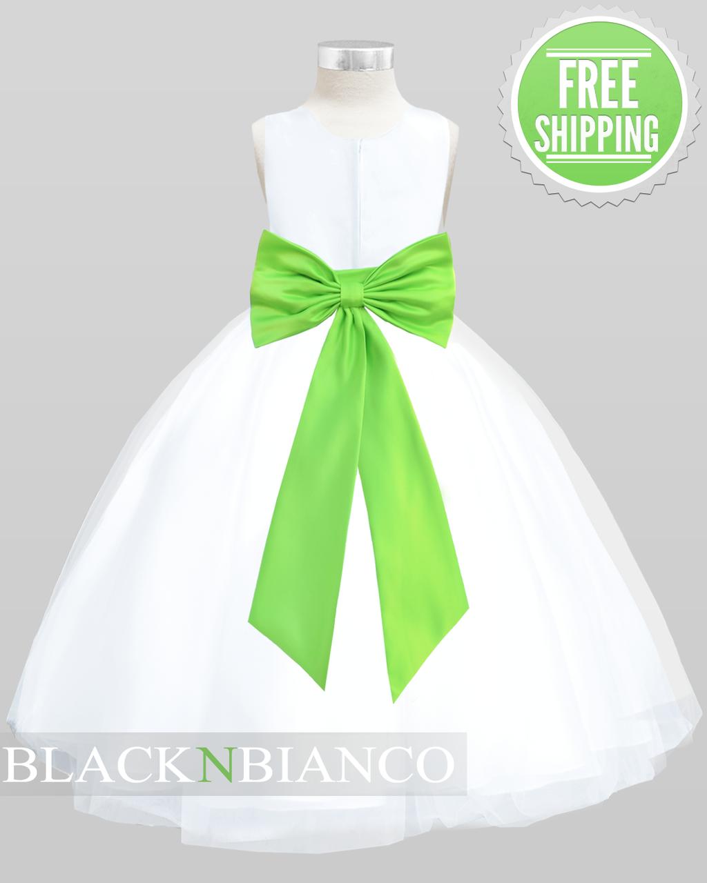 1b0eb7a6b7b White Sleeveless Satin Flower Girl Dress w  Vibrant Lime Green Bow