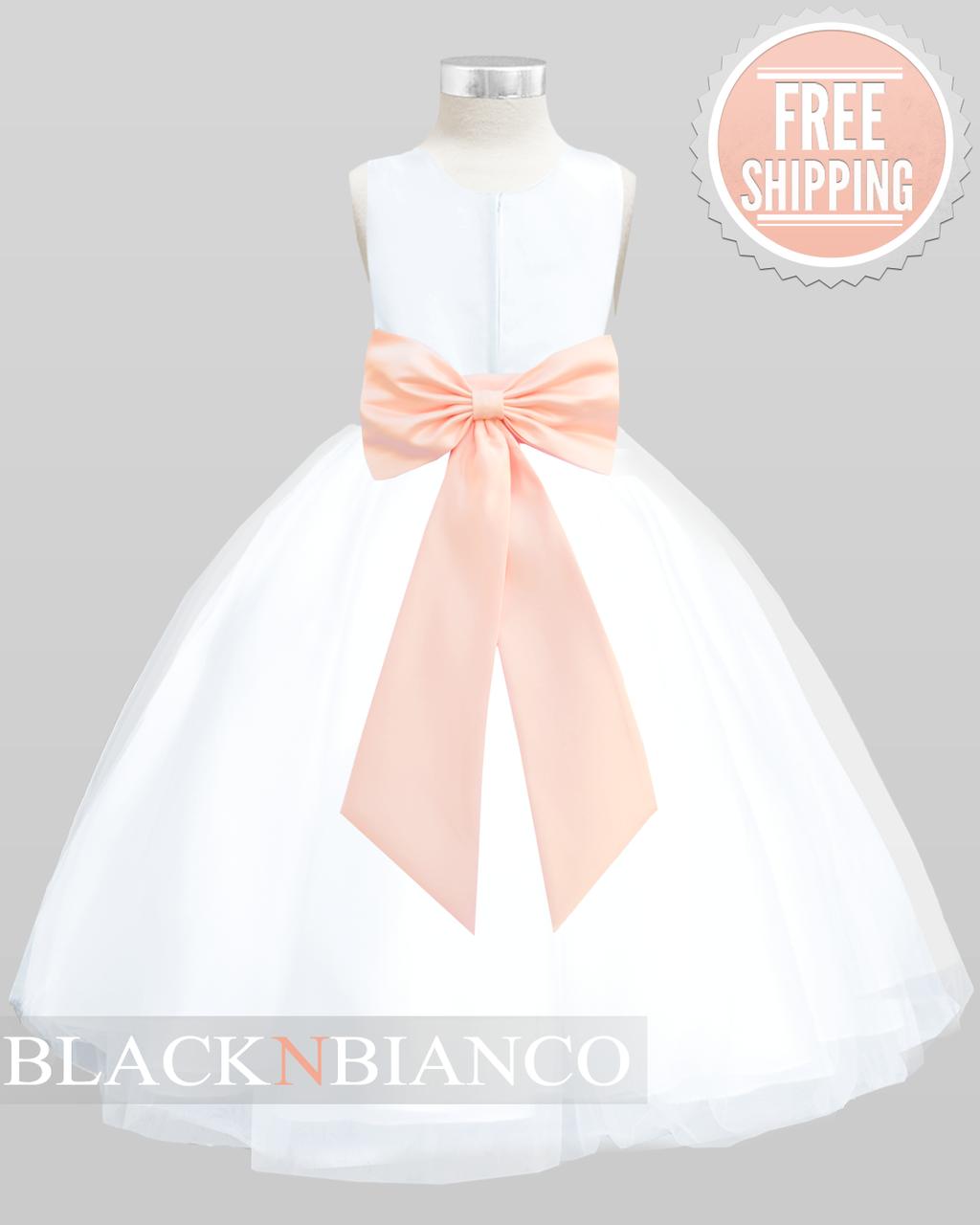 Peach Princess White Tulle Flower Girl Dress   BLACK N BIANCO