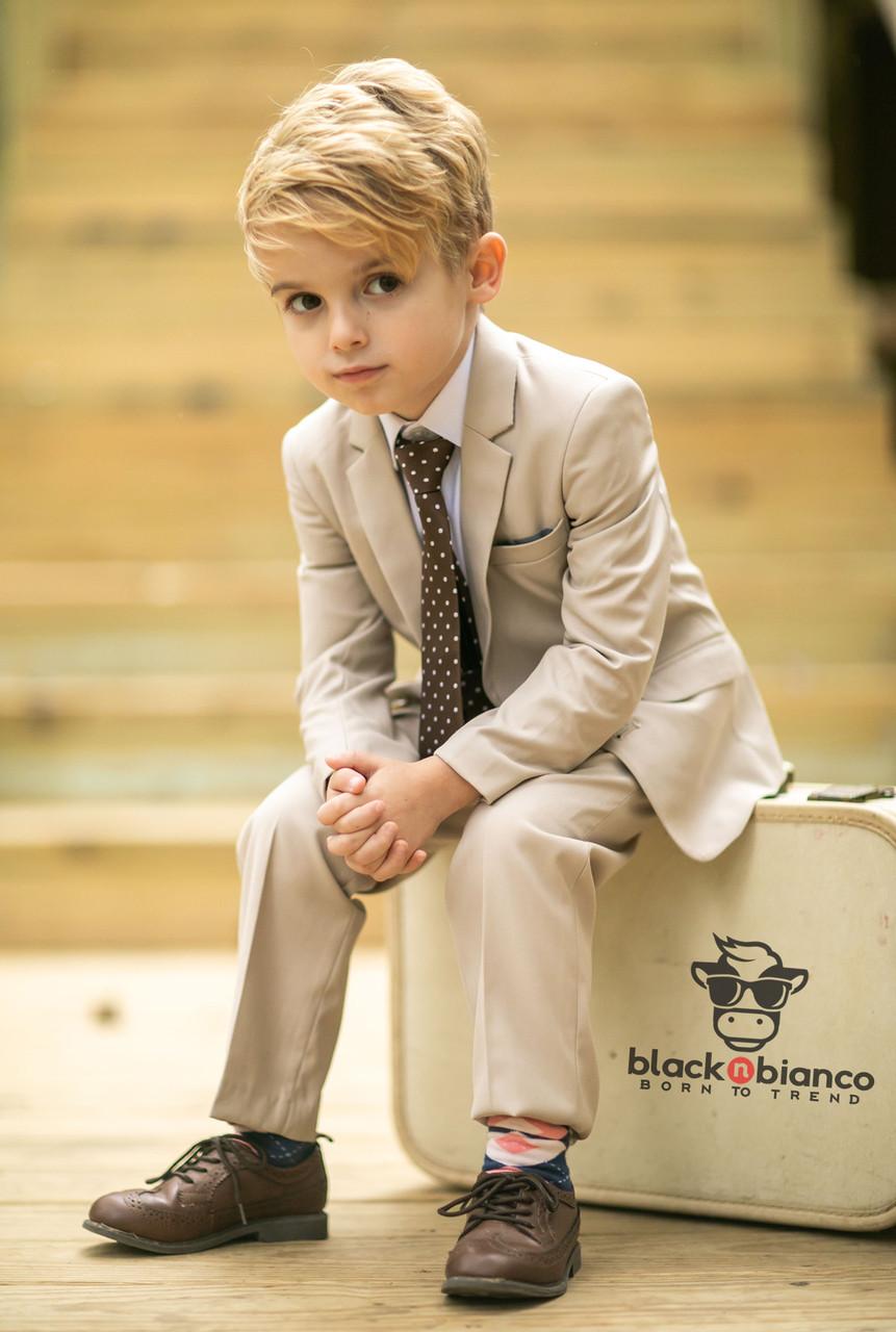 c57e99614 Boys Khaki Tan Slim Suit - Sharp and Modern by Black N Bianco