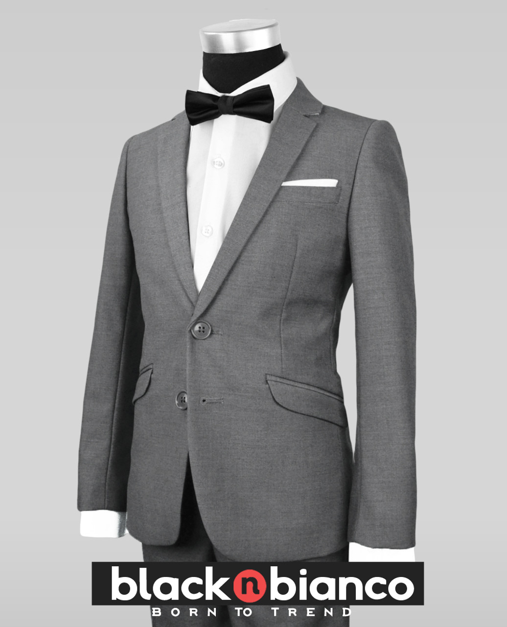 1a36a9c92073 Black N Bianco Signature Boys Slim Dark Grey Tuxedo Suit with Bow Tie