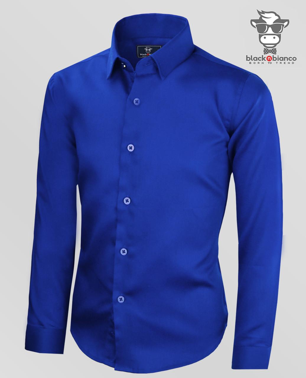 f118c9dd8d04 Boys Sateen Royal Blue Long Sleeve Dress Shirt. Signature Series by Black N  Bianco