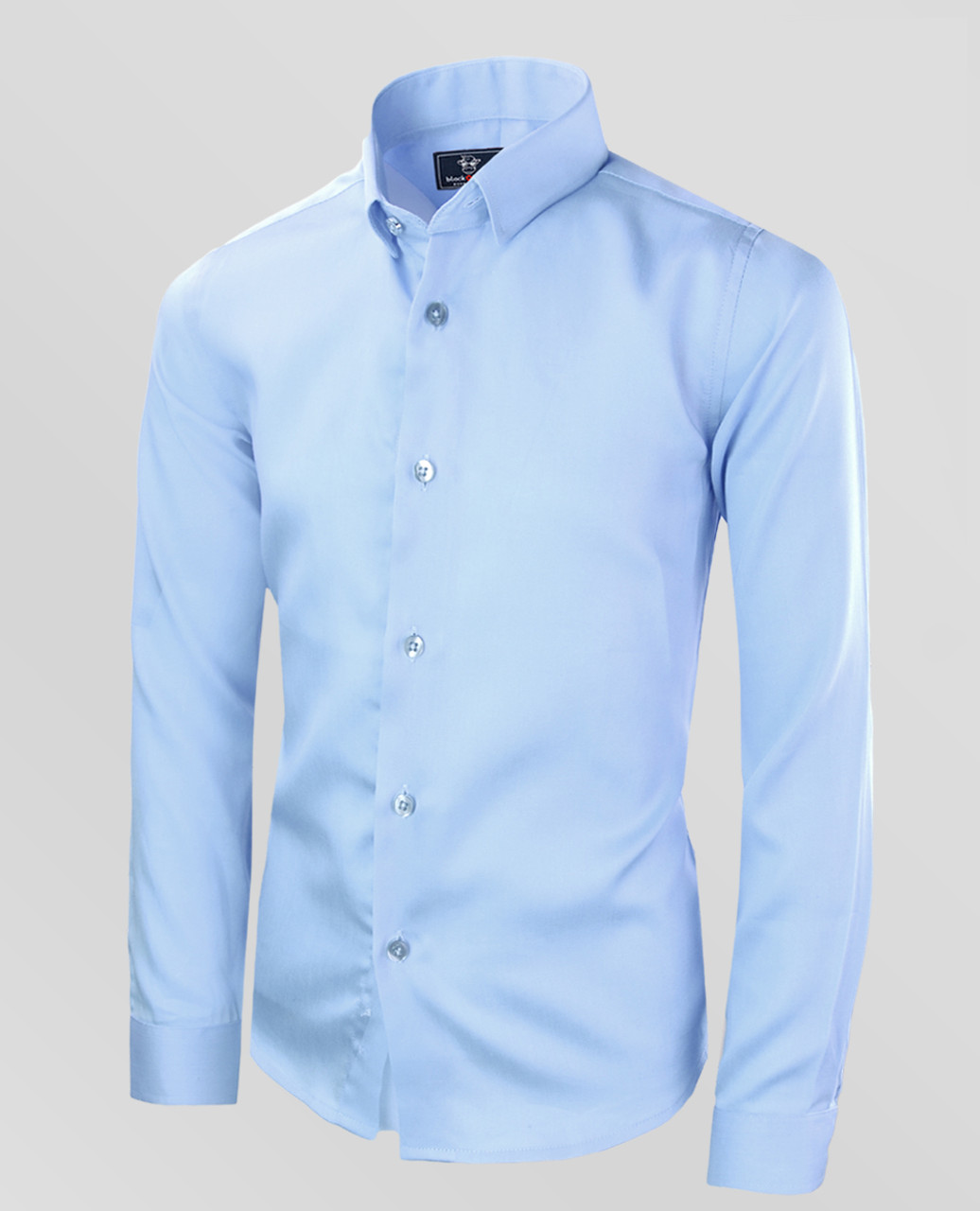 Black N Bianco Boys Signature Button Down Sateen Light Blue Dress Shirt