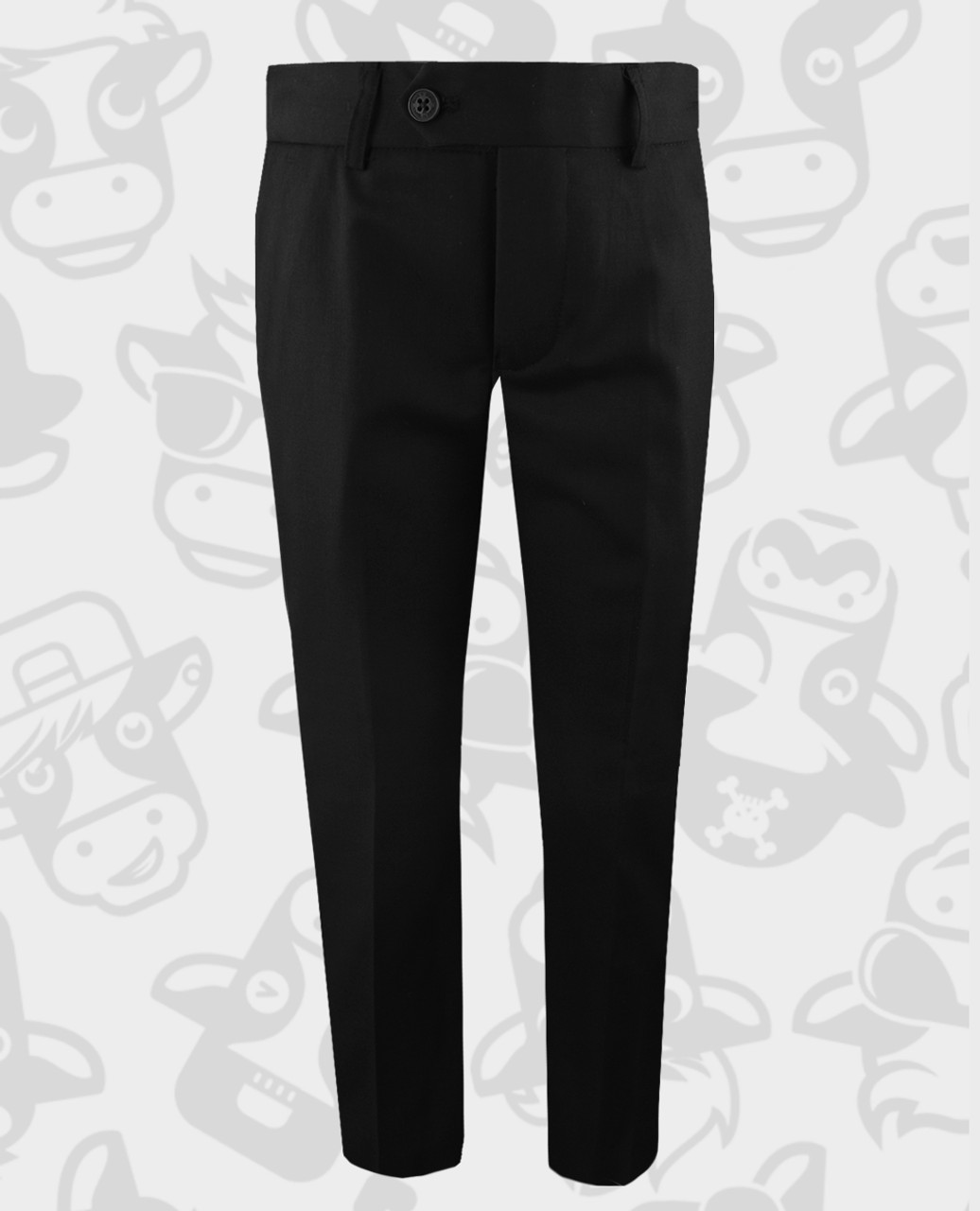 16a1c9c88f9b96 Black n Bianco Boys' Flat Front Slim Fit Trouser Pants in Black