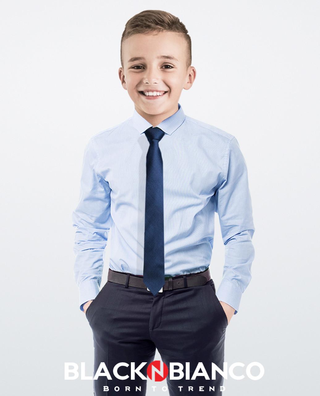 Black n Bianco Boys Elite Button Down Dress Shirt in Light Blue with Navy Neck Tie