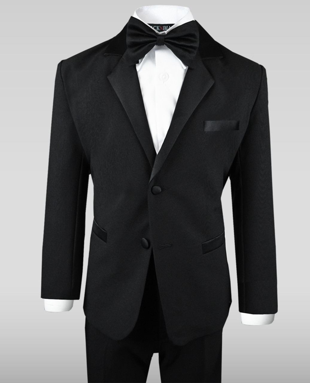 TUXXMAN New Boys Black Bow Tie Tuxedo Satin Pre Tied Formal Tux Shirt U.S.A