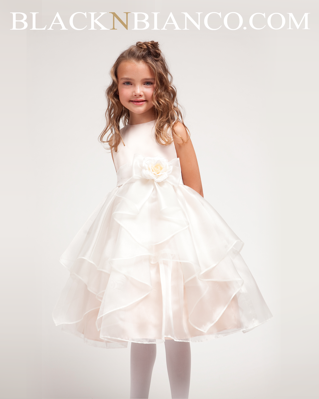 87c3db386a5 Ivory Flower Girl Dress with Ruffled Organza comes with Sash and Flower