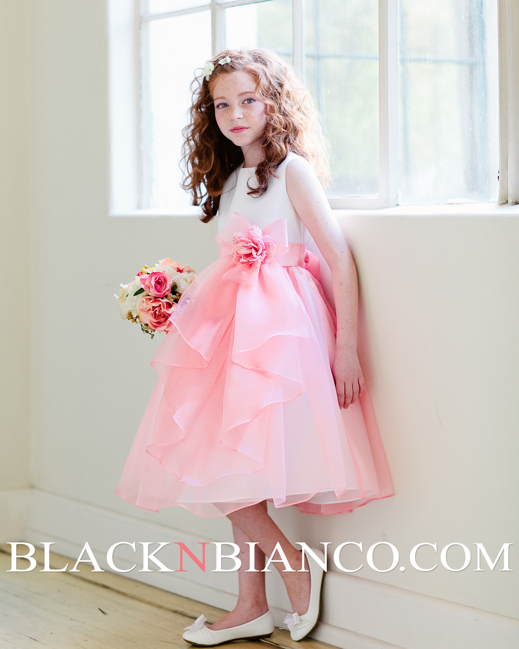 f746ab4de76 Layered Organza Flower Girl Dress In White and Coral with Satin Bodice