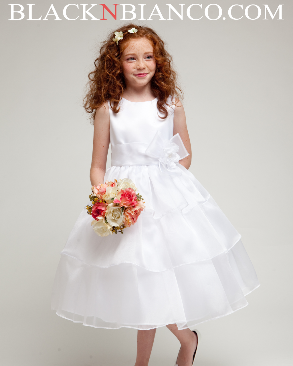 4e55de6a559 White Flower Girl Dress Heavenly Style with three layered organza skirt