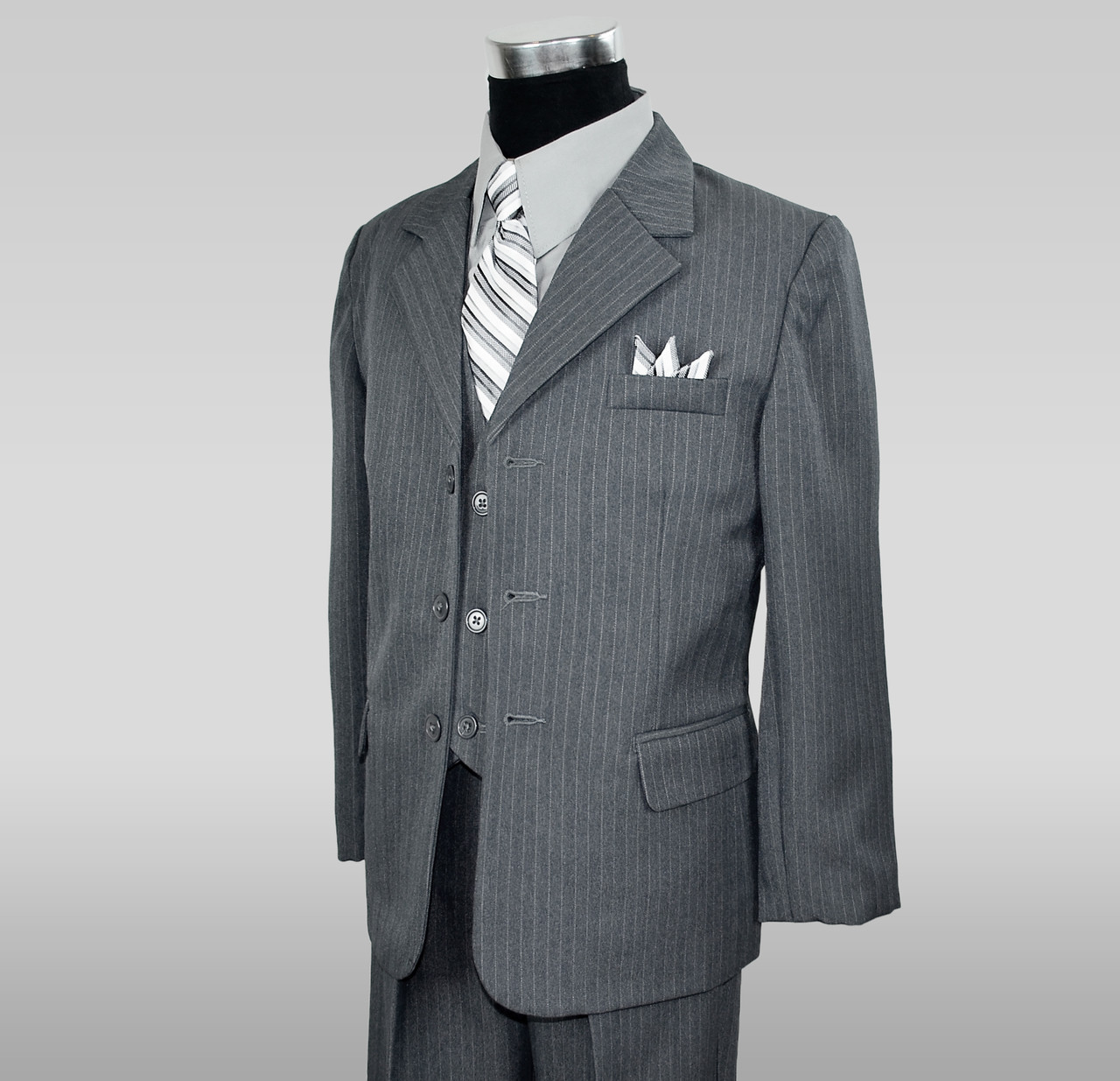 Boys Grey Pinstripe Suit 5 Pieces Set with Vest and Tie Size 2T-14 Two Button