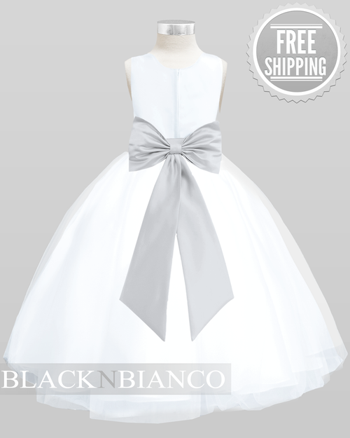 99d7631b4c5 Tulle White Flower Girl Dress with a Silver Bow in the Back by Black N  Bianco