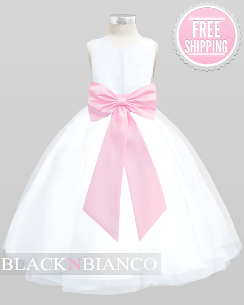 e8ff17a0810 White Poly Satin Flower Girl Dress W  Pink Removable Sash Flower and Bow