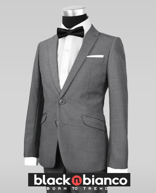 b38e682d0b4405 Black N Bianco Signature Boys Slim Dark Grey Tuxedo Suit with Bow Tie
