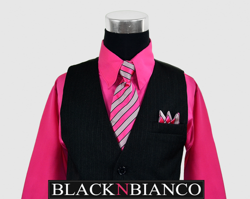 Formal Black Suit for Boys with a Pink Fuchsia Long Neck Tie Kids All Sizes