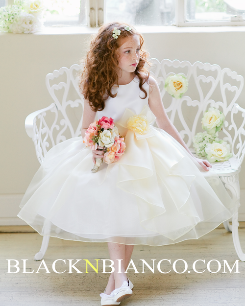 43b1cefc4 White Sleeveless Satin Flower Girl Dress w/ Vibrant Lime Green Bow. $89.99.  Was: Now: $39.99. Adorable Flower Girl In with Ruffled skirt