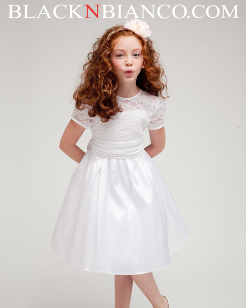 3166737d525 White Flower Girl Dress with lace and satin sleeves Black N Bianco