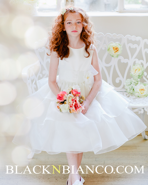 fb26aa144 Flower Girl Dress in Banana and White with ruffled organza skirt