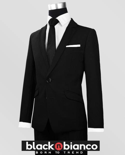 09896d4853d Black N Bianco Boys  Signature Button Down Sateen Light Blue Dress Shirt