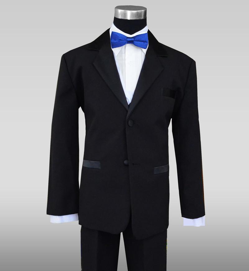 Boys Tuxedo With A Royal Blue Slim Bow Tie