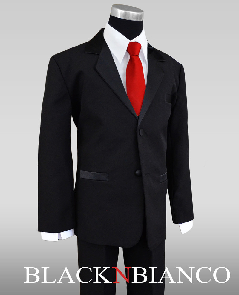 Boys Tuxedos In Black With Red Slim Bow Tie
