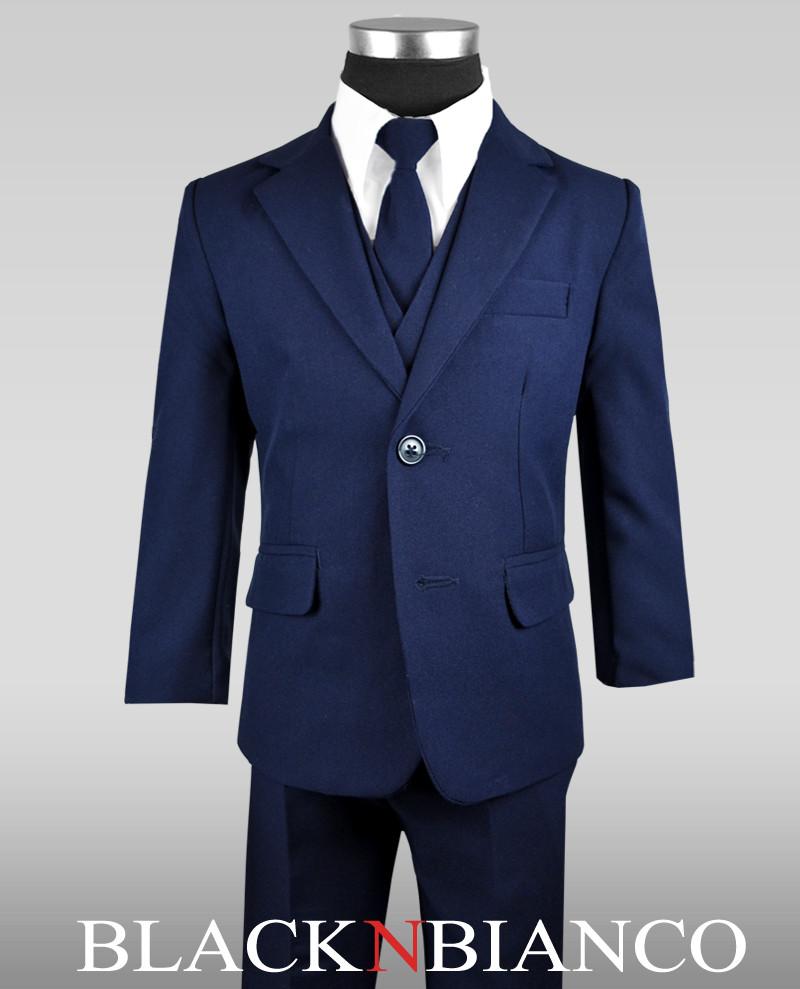 Boy S Navy Suit With Tie Vest Shirt And Slacks Black N Bianco