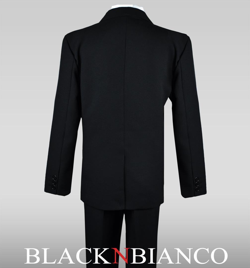 Boys Dark Silver Wedding Slim Fit Formal Suits 5 Piece Set With Silver Tie