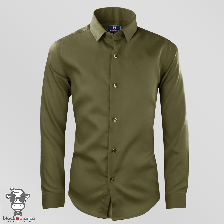 Black n Bianco Boys' Signature Sateen Long Sleeve Dress Shirt in Olive Green