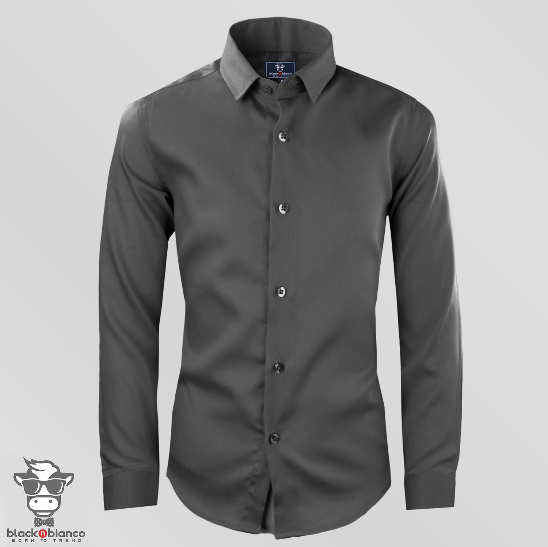 Black n Bianco Boys' Signature Sateen Long Sleeve Dress Shirt in Charcoal