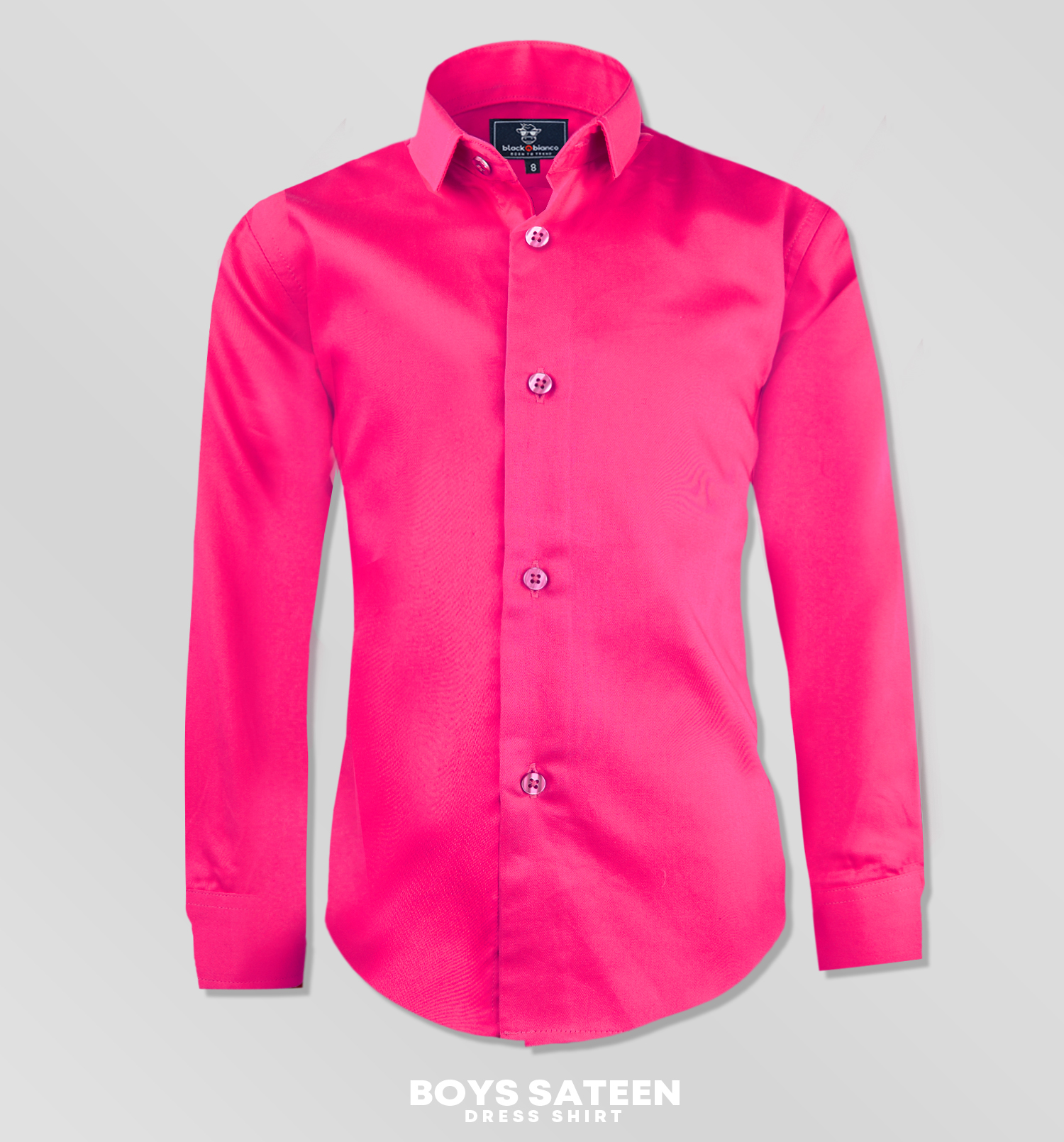 Black N Bianco Boys Signature Sateen Dress Shirt In Fuchsia