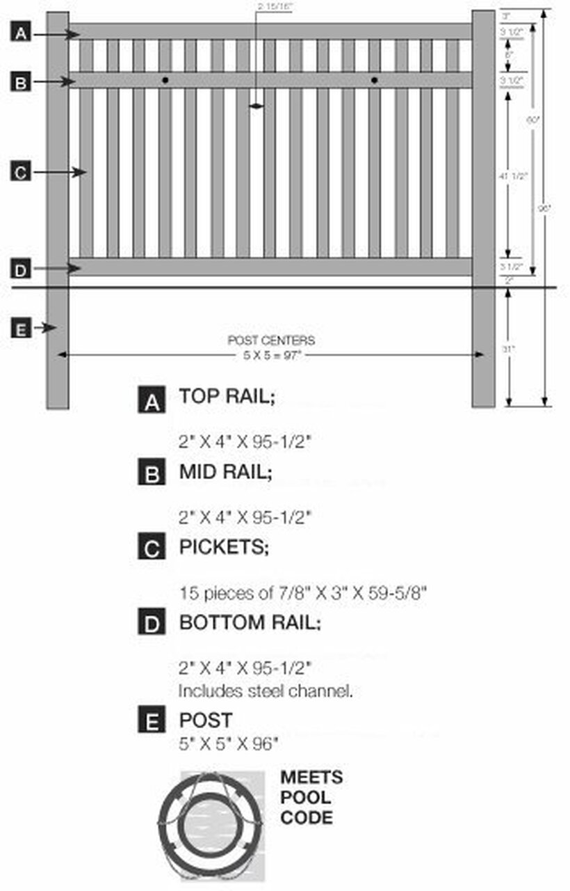 5' Bufftech Baron Fence Specifications